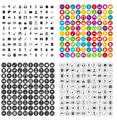 100 conservatory icons set variant vector image