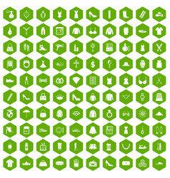 100 womens accessories icons hexagon green vector