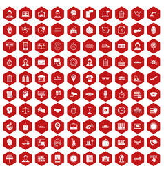 100 working hours icons hexagon red vector