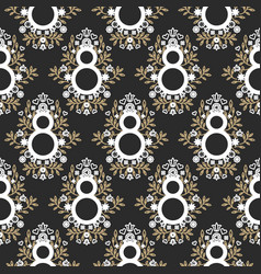 8 march floral black and gold seamless vector image