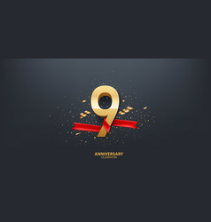9th year anniversary background vector