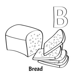 Alphabet letter b coloring page bread vector