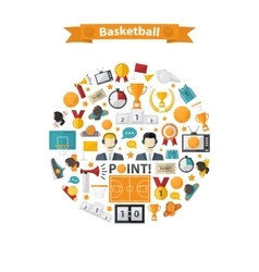 Basketball Icons set in circle vector image