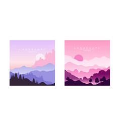 beautiful mountain landscape at sunset peaceful vector image