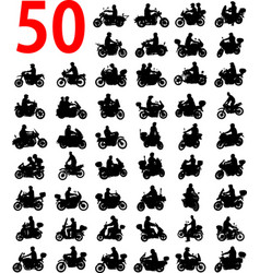 big collection motorcyclist silhouettes vector image