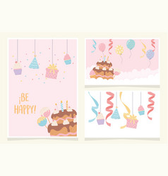 birthday cake with candles ribbon balloons cupcake vector image