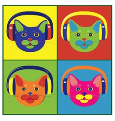 brightly colored cats in the music headphones vector image