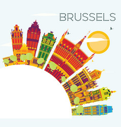 Brussels skyline with color buildings blue sky vector