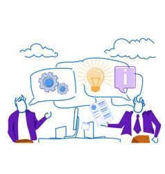 businessmen chat bubble communication workplace vector image