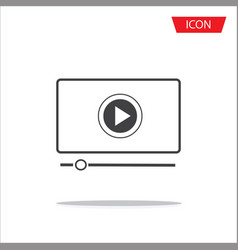 button play video on desktop icon isolated on vector image
