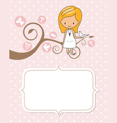 Card my first communion girl sitting on a tree wi vector