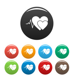 Cardiology icons set color vector