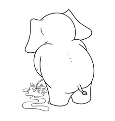 Cartoon characters of elephants urinating vector