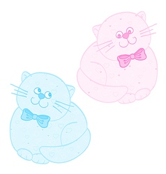 Cats pink blue vector