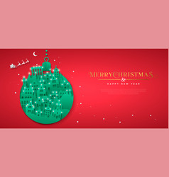 Christmas new year paper cut bauble winter city vector