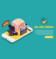 cinema online horizontal banner vector image