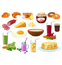 Collection breakfast food icon isolated vector