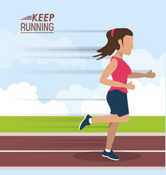 Colorful poster keep running with female athlete vector