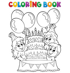 Coloring book kids party theme 2 vector