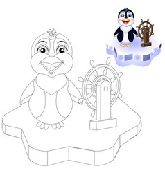 coloring page penguin on ice vector image