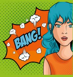 Comic like woman icon vector