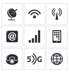 Communication and connection icons set vector image