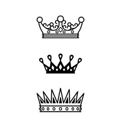 crowns black line icons collection vector image