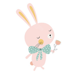 Cute bunny with flower vector
