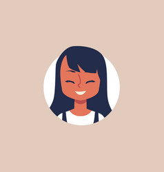 cute cartoon girl laughing and smiling - isolated vector image