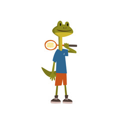 Cute frog tennis player humanized animal cartoon vector