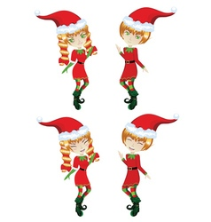 Cute xmas elves vector