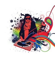 dj girl with floral vector image