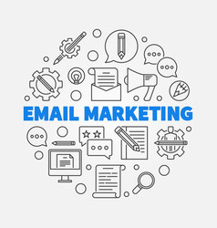 Email marketing round concept line vector