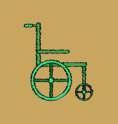 Flat shading style icon medical wheelchair vector