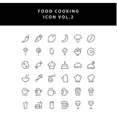 food cooking icon set outline set vol 2 vector image