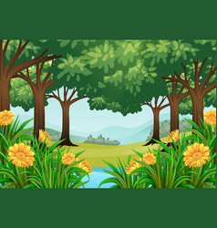 Forest scene with flowers and pond vector