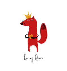 fox in crown holding heart vector image