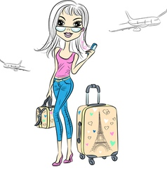 Girl with suitcases travels worl vector