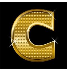 Golden font type letter C vector image