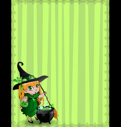 halloween border of witch baby girl with vector image