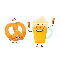 happy aluminium beer mug and pretzel characters vector image