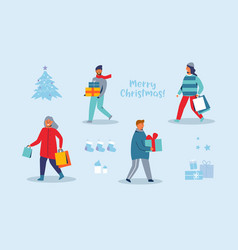 happy characters shopping on winter holidays vector image