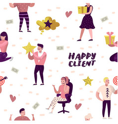 happy client cartoons seamless pattern vector image