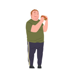 Happy fat young man eating burger obese person in vector