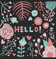 Hello greeting card floral pink black background vector