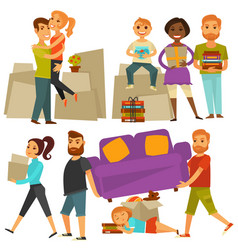 Home move people moving from house flat vector