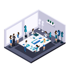 Isometric tailor room atelier process creating vector
