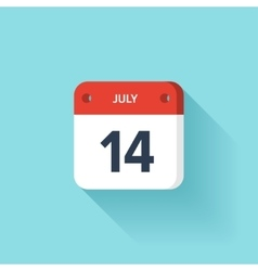 July 14 Isometric Calendar Icon With Shadow vector