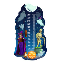 Kids height chart halloween and ghosts vector