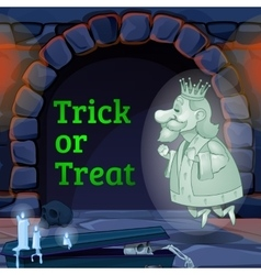 King Ghost in the castle and text trick or treat vector
